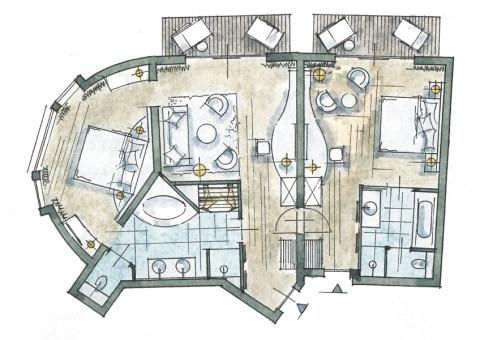Larimar-Suite Superior Zimmer Skizze