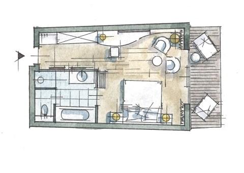 Doppelzimmer Abendsonne Zimmer Skizze