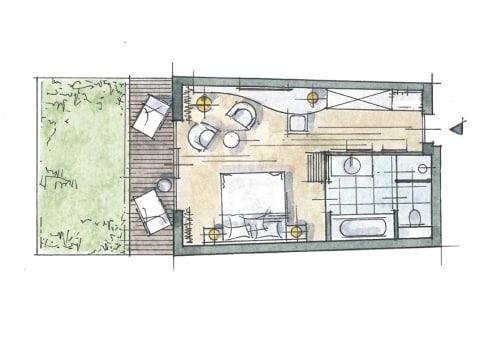 Doppelzimmer mit Garten Zimmer Skizze