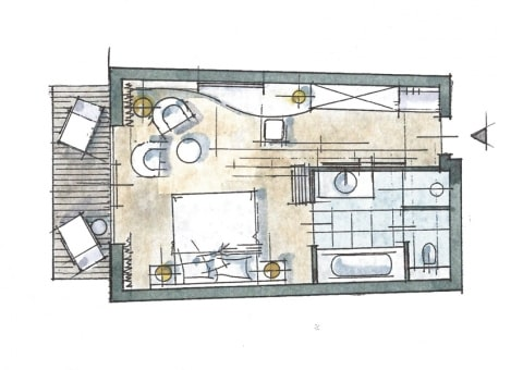 Doppelzimmer Panoramablick Zimmer Skizze