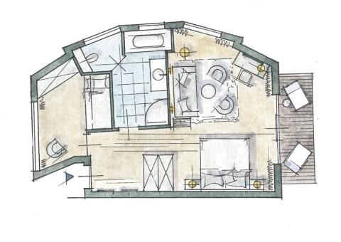 Familien-Suite Zimmer Skizze