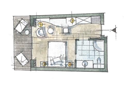 Grand-Lit Einzelzimmer Zimmer Skizze
